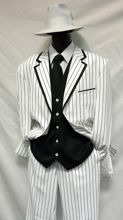 Zoot Suits Mens White with Black Stripe 3 Piece Milano Fortino 5908V - click to enlarge