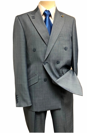 Falcone Double Breasted Suit Mens Heather Blue Flat Front Duece 5540-032 IS - click to enlarge