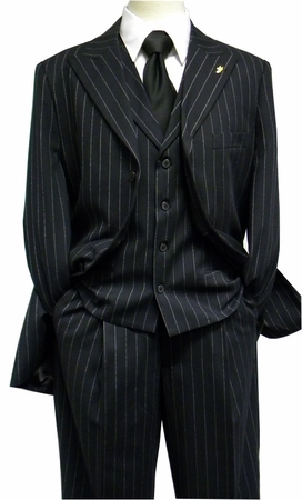 Falcone Mens Black Gangster Stripe Square Vested 1920s Suit 3580-000 htm - click to enlarge