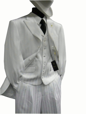 Falcone Mens White Mat Vested Fashion Dress Suit 380-007 OS - click to enlarge