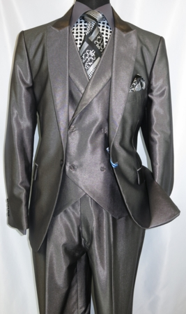 Falcone Metallic Gray Ken DB Vested 3 Piece Suit 5662-021 - click to enlarge