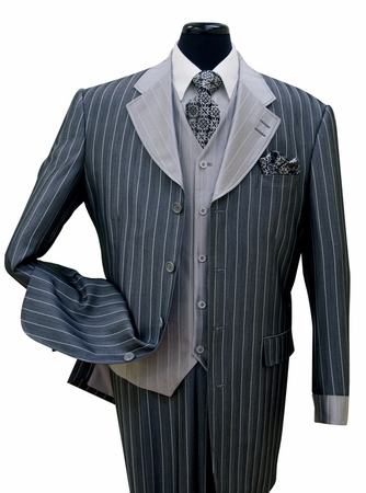 Milano Navy Stripe Sharkskin Zoot Suit 3 Piece 2911V Size 42R Final Sale - click to enlarge