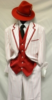 Milano Mens White Red Stripe Zoot Suit 5908V Size 52 Reg Final Sale