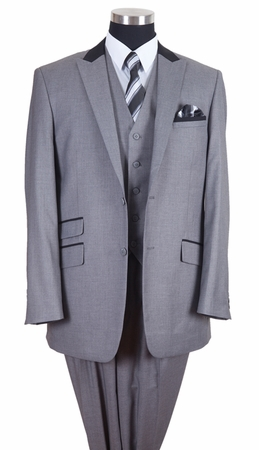 Milano Moda Mens Gray Black Collar Chesterfield 3 Piece Suit 57023 - click to enlarge