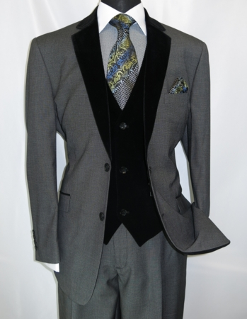 Milano Moda Mens Gray Velvet Lapel Vest 3 Piece Fashion Suit 57024 - click to enlarge