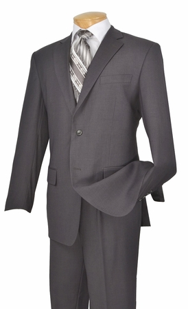 Vinci Mens 2 Button Solid Grey Suit Single Pleat N2TR  - click to enlarge