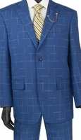 Fashionable Mens Suits by Vinci Bright Blue Window Pane 2RW-4