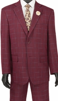 Fashionable Mens Suits by Vinci Burgundy Windowpane 2 Piece 2RW-4
