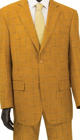 Fashionable Mens Suits by Vinci Ginger Gold Window Pane 2RW-4 - click to enlarge