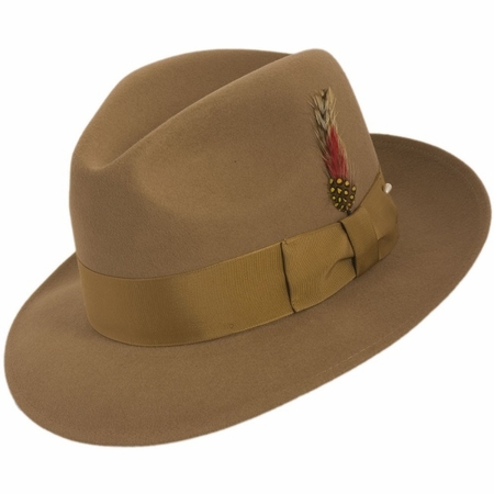 Fedora Hat Men's Camel Beige Wool Brim Untouchable Capas - click to enlarge