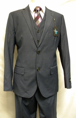 Steve Harvey Blue Fine Striped 3 Pc. Suit Modern Style Fit 1244 IS - click to enlarge
