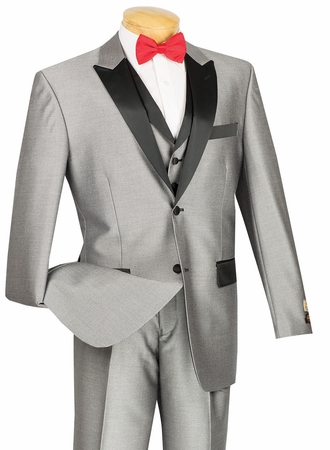 Vinci Mens Shiny Gray 3 Piece Tuxedo Entertainer 23TX-1 - click to enlarge
