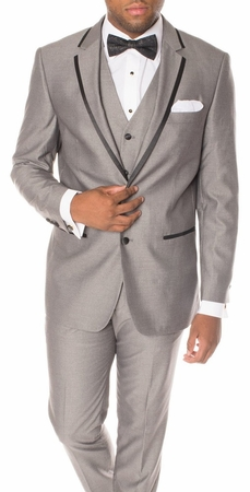 Ferrecci Mens Slim Fit Gray Black Trim Tuxedo Suit Celio - click to enlarge