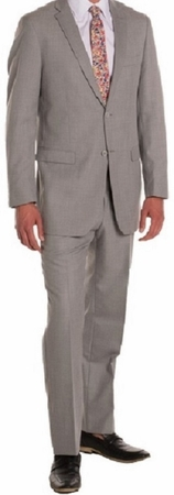 Ferrecci Mens Suits 2 Piece  Light Grey Flat Front Pants Regular Fit Ford - click to enlarge