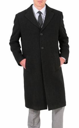 Ferrecci Mens Wool Overcoat Charcoal Gray 4 Button Ken - click to enlarge