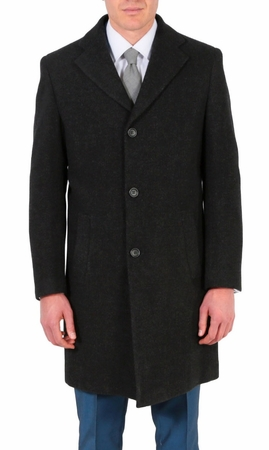 Ferrecci Mens Wool Overcoat Gray Solid 3 Button Top Coat Klein - click to enlarge
