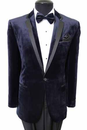 Tazio Mens Navy Velvet Slim Fit Evening Jacket MJ142S - click to enlarge