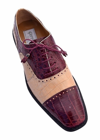 Ferrini Men's Burgundy Alligator Ostrich Cap Toe Shoes 203/528 - click to enlarge