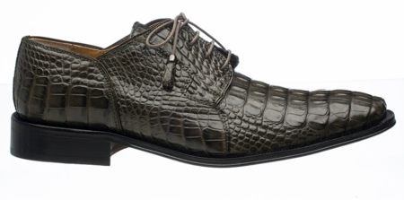 Mens Alligator Shoes by Ferrini Elephant Grey Lace up 226 - click to enlarge