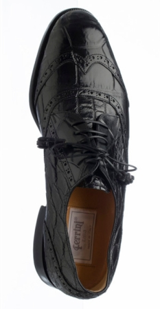 Mens Italian Alligator Shoes by Ferrini Black Wingtip 3673 - click to enlarge