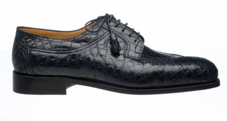 Mens Italian Alligator Shoes by Ferrini Navy Split Toe 228 - click to enlarge