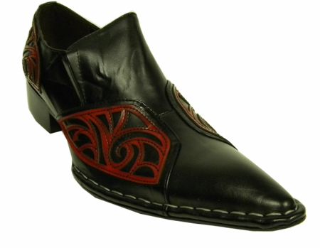 Fiesso Black Red Leather Pointy Toe Slip On Shoes 6740 IS - click to enlarge
