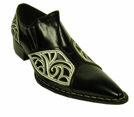 Fiesso Black White Pointy Toe Leather Shoes 6740 IS - click to enlarge