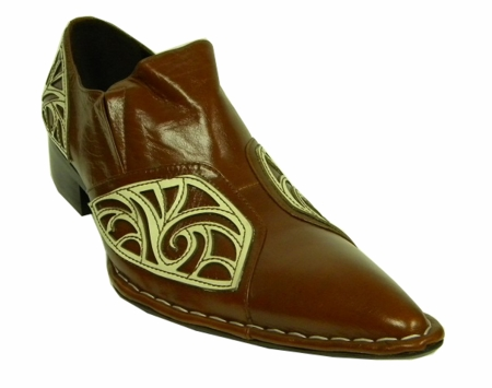 Fiesso Brown Fancy Pointy Toe Leather Shoes 6740 IS - click to enlarge