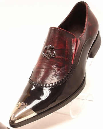 Fiesso Mens Black Red Pointy Metal Toe Club Shoes 6784 IS - click to enlarge