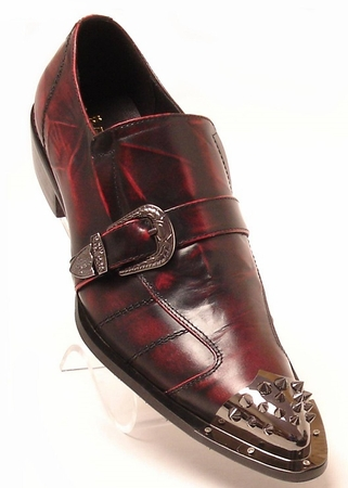 Fiesso Mens Burgundy Marble Pointy Metal Toe Strap Shoes 6829 IS - click to enlarge