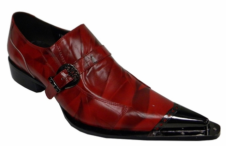 Fiesso Mens Red Leather Metal Toe Slip On Shoes 6053 IS - click to enlarge