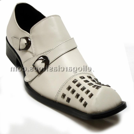Fiesso Mens White Leather Studded Toe Slip On Shoes 6604 IS - click to enlarge