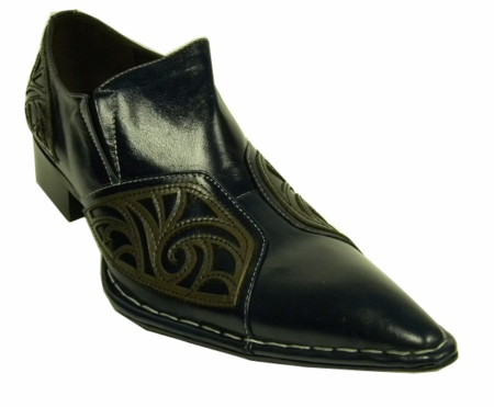Fiesso Navy Leather Fancy Pointy Toe Shoes 6740 IS - click to enlarge