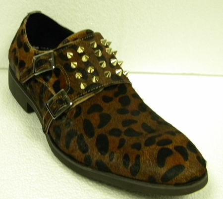 Fiesso Shoes Leopard Print Rivets 3142 IS - click to enlarge