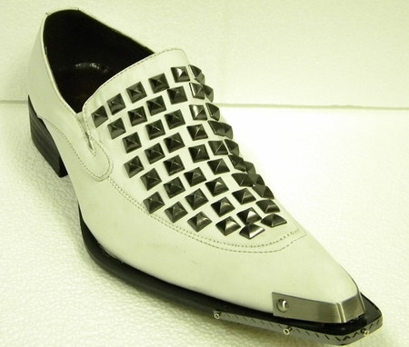 Fiesso Shoes White Leather Rivets 6602 IS - click to enlarge