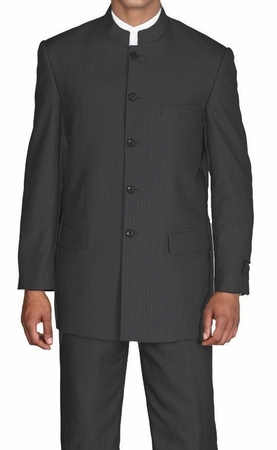 Fortini Mens Black Stripe Mandarin Chinese Style Collar Suit 925H - click to enlarge
