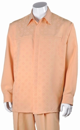 Fortino Big Size Mens Peach Diamond Pattern Walking Suit 2762X - click to enlarge