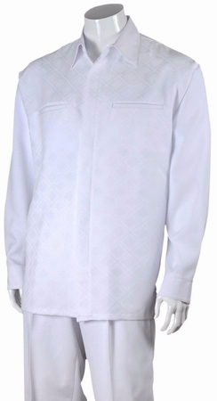 Fortino Big Size Mens White Diamond Pattern Walking Suit 2762X - click to enlarge