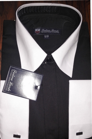 Fortino Men's Riley Collar Two Tone Dress Shirt Black White SG03F2 - click to enlarge