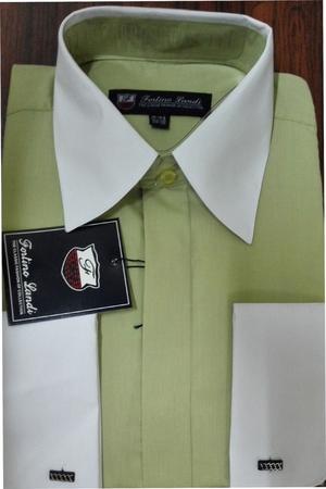 Fortino Men's Riley Collar Two Tone Dress Shirt Green White SG03F2 - click to enlarge