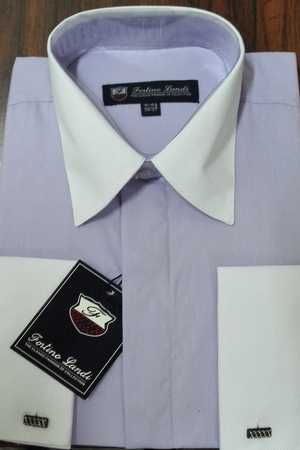 Fortino Men's Riley Collar Two Tone Dress Shirt Lavender White SG03F2 - click to enlarge