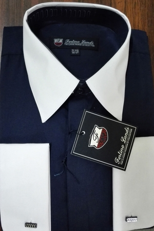 Fortino Men's Riley Collar Two Tone Dress Shirt Navy White SG03F2 - click to enlarge