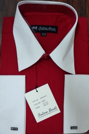 Fortino Men's Riley Collar Two Tone Dress Shirt Red White SG03F2 - click to enlarge