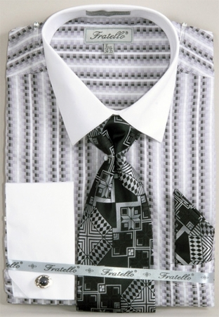 Fratello Black Jaquard French Cuff Shirt Tie Set FRV4130P2 - click to enlarge