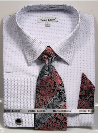 Daniel Ellissa Men's French Cuff Shirt Set - Black Mini Pattern DS3792P2 - click to enlarge