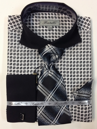 Fratello Black Spread Collar French Cuff Shirt Tie Set FRV4128P2 - click to enlarge