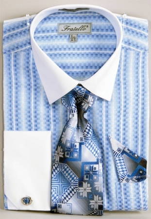 Fratello Blue Jacquard Stripe French Cuff Shirt Tie Set FRV4130P2 - click to enlarge