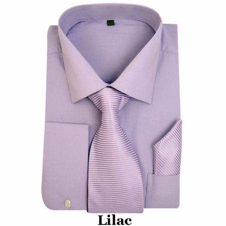 Milano Lilac French Cuff Shirt Stripe Tie Combo SG27 - click to enlarge