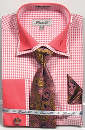 Fratello Men's Coral Hounds Tooth French Cuff Tie Hankie Set FRV4136P2 - click to enlarge