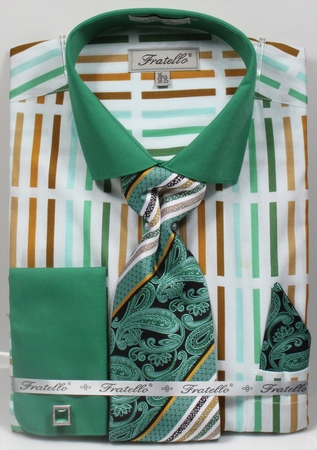 Fratello Mens Green Multi French Cuff Dress Shirt Tie Set FRV4133P2 - click to enlarge